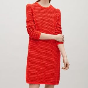 COS red knit sweater dress